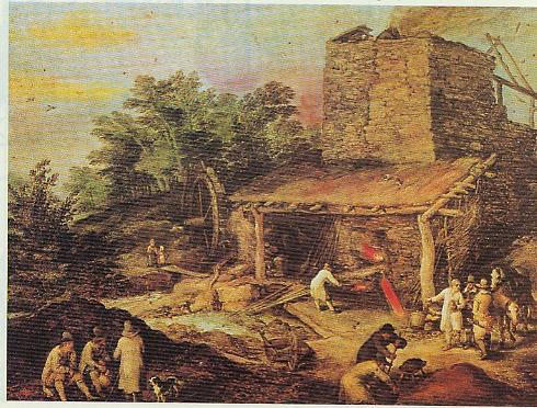 Brueghel_Holzkohle-Hochofen_Anfang_17._Jahrhundert